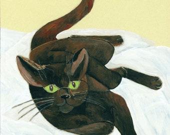 "Black Cat Art Print - Green-Eyed Cat ""Claws"" by Lorraine Skala"