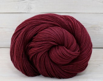 Zeta - Hand Dyed Polwarth Wool and Silk DK Sport Yarn - Colorway: Cranberry