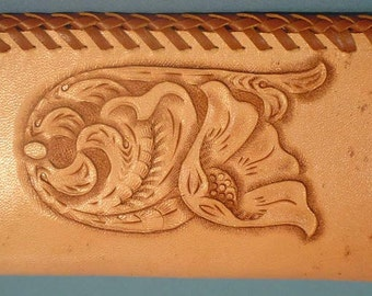 Hand Carved Leather Business Card Case - L095