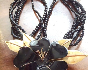 Vintage Black Enamel Onyx Brass Flower Multi Strand Necklace Choker Statement Runway