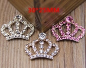 5pcs 30x25mm Bling Crystal Crown Flatback Alloy jewelry accessories materials supplies