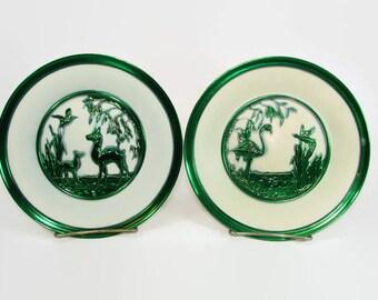 2 Metal Green and White Embossed Plates, Pair of Metallic Green Wall Hangings, Made in England, Deer, Flamingo