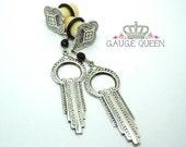 "Art Deco Dangle Plugs / Gauges. 4g / 5mm, 2g / 6.5mm, 0g / 8mm, 00g / 10mm, 1/2"" / 12mm, 9/16"" / 14mm, 5/8"" / 16mm by Gauge Queen on Etsy"
