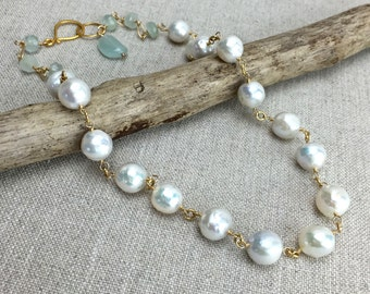 White Pearl Necklace - Baroque Freshwater Pearls with Aquamarine, Beautiful Luster, Wire Wrap on Gold Chain, Bridal, Style Number NS966