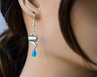 Watering Can Earrings with Water Drop, Gifts for Gardeners