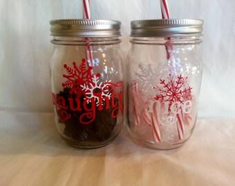 NAUGHTY or NICE Christmas Mason Jar Tumbler Holiday Mason Jar Drink with red and white Reusable BPA Free Straw 16 oz (Two)