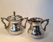 SALE Silver Plate Sugar Creamer Set, Antique Silver Plate Sugar & Creamer Superior Silver co. Embossed for Tea Parties
