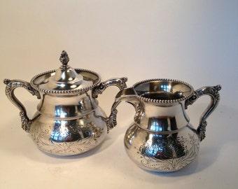 SALE Silver Plate Sugar Creamer Set, Antique Silver Plate Sugar & Creamer Superior Silver co. Embossed for Tea Parties