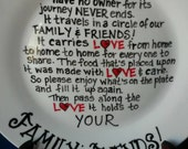 The Giving Plate. Hand painted. Love, Gratitude, Easter, Sharing, Food, One of a Kind