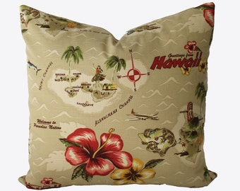 Decorative Designer Tommy Bahama Retro Hawaii Pillow Cover, 18x18, 20x20, 22x22 or Lumbar Throw Pillow