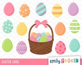 80% OFF SALE Easter Eggs Paint Dye Colorful Cute Clip Art, Instant Download, Commercial Use