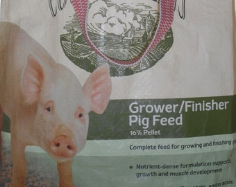 White Pig Tote ~ upcycled tote from feed bag