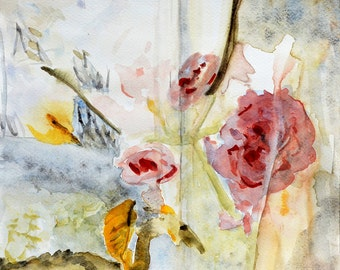Floral watercolor painting Fine art print on archival paper or Canvas Spring bloom abstract Coral red, yellow and grey Rose bush window view