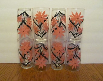 Pink and Black Daisy Flower Cocktail Glasses Set of 8