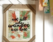 vintage atlas print / not all who wander