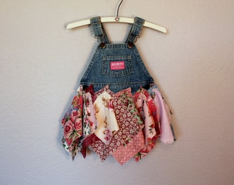 Repurposed Baby Dress / Denim Upcycled Osh Kosh Shabby Tattered Overall Outfit / Babies Clothing