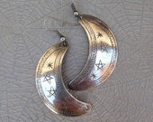 Vintage Silver Plated Crescent Moon Earrings