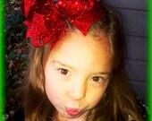 Glitter Hair Bow....Glitter Boutique Bow...OTT Glitter Bow...Girls Glitter Hair Bow....Glitter Bow