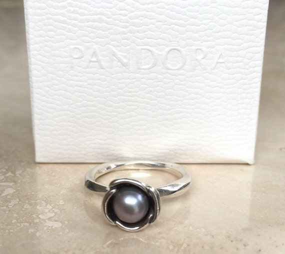 Pandora Grey Pearl Earrings: Lovely Pandora Bloom Ring With Grey Freshwater Pearl Retired S