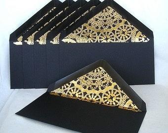 Gold Doily Lined Envelopes Wedding Invitation Envelopes Vintage Modern Black Ivory Any Color Custom Gold Lace Lined Envelopes Any Size