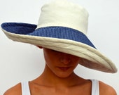 Wide brimmed summer hat, sun hat, reversible hat, foldable sunhat, travel hat, cream hat, navy blue polka, cotton hat, boho hat