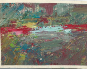 Original Abstract Oil Painting: Lake in the forrest