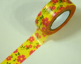 1 Roll of Japanese Washi Tape Roll- Flowers