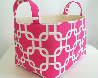 Storage Basket Fabric Organizer with Handles in Chainlink Candy Pink and White - Gift Basket - Hostess Gift - Choose Size