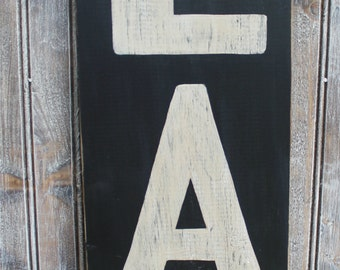 Handpainted Large Subway Style EAT Distressed Finish  Wooden Sign Kitchen Wall hanging