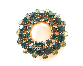 Emerald and Lime Green Sparkling Rhinestone Circle Wreath Vintage Brooch