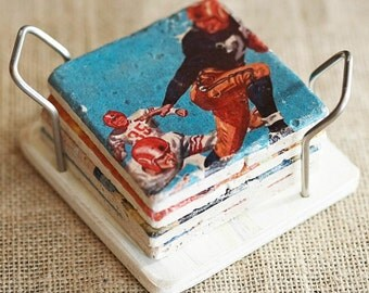 Coaster Holder- Coasters, Wood Coaster Holder, Stainless, Coaster Display, Coaster Gift, Coaster Stand, Drink Coaster, Stone Coaster