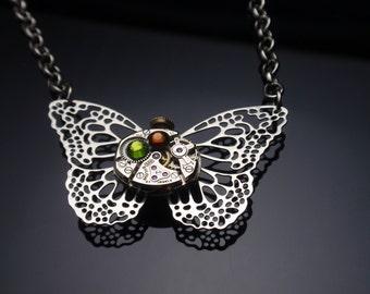 Steampunk Necklace, Butterfly Necklace, Olive Topaz Swarovski Crystals Necklace, Delicate Necklace, N52