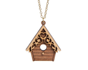 Birdhouse necklace - laser cut wood