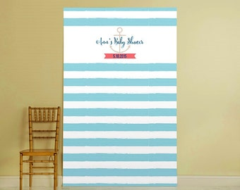 Personalized Photo Booth Backdrop - Blue & White Decoration, Brithday Party Decoration, Baby Shower Decoration, Nautica Theme Decoration
