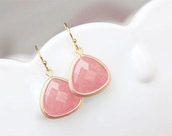 Pink Drop Earrings in Gold - Pink Coral Bridesmaid Earrings - Pink Stone Earrings - Faceted Stones - Bridesmaid Earrings