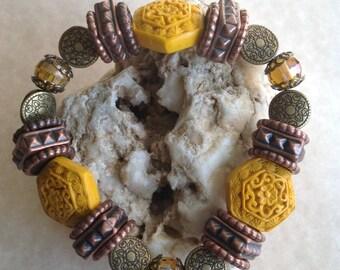 Free Shipping - Wealth - Mala Stone Bracelets/Spiritual Cinnabar Stone Bracelets/Cinnabar Stone Bracelets/Antique Style Bracelets