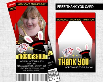 MAGIC SHOW TICKET Invitations + Bonus Thank You Card - (print your own) Birthday Party Personalized Printable
