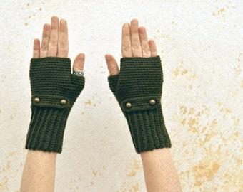 Crochet fingerless gloves, knit kaki green mittens, wool wrist warmers with buttonned flap