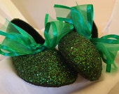 Flower Girl Shoes~Bridal Shoes~Shades of Green~Custom Colors Available~Glittered~Fast Service and Shipping!