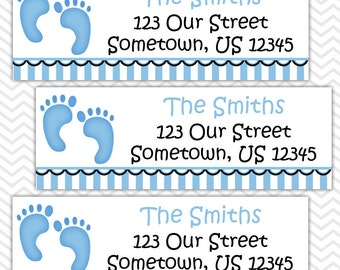 Baby Feet Blue - Personalized Return Address labels, Envelope Seals, Stickers, Baby Shower, Birthday