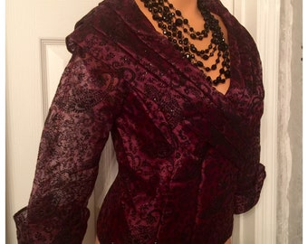 Vintage 1980's Alex Evenings Blouse / Wine and Black Tulle Formal Occasions Blouse Ladies Size  Medium Petite (MP) USA