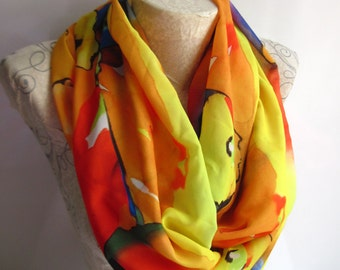 Colorful İnfinty Scarf , Orange Scarf , Yellow Scarf , Neon Scarf , Long Scarf