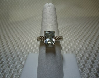 Emerald Cut White Topaz Ring in Sterling Silver   #1332