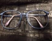 Slate blue Navy blue granite patterned nerdy frames 55-13