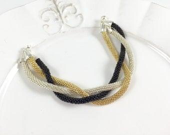 Gold, Silver & Black Beaded Crochet Bracelet