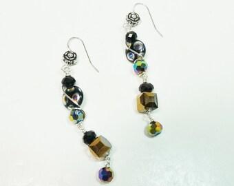 Dangle Drop Earrings, Black Drop Earrings, Black Dangle Earrings, Vintage Dangle Earrings, Wire Wrapped Earrings