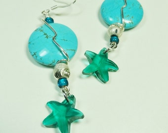 Turquoise Magnesite Earrings with Starfish, Starfish Earrings, Wire Wrapped Earrings, Turquoise Starfish Earrings