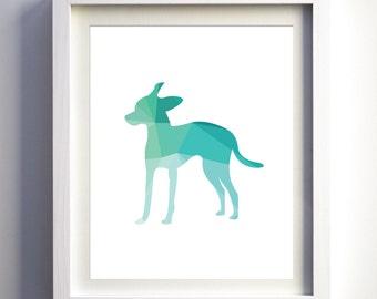 Teal Turquoise mint chihuahua dog art print geometric animal prints wall decor teal nursery art girls boys wall art children animal room dog
