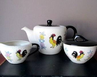 Vintage Teapot Creamer Sugar Rooster and Floral Design Japan  Splatter Tea Pot Set Pottery
