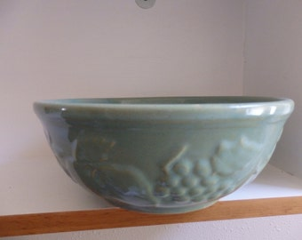 USA Green/Turquoise Pottery Bowl with Embossed Fruit - 9 inches across